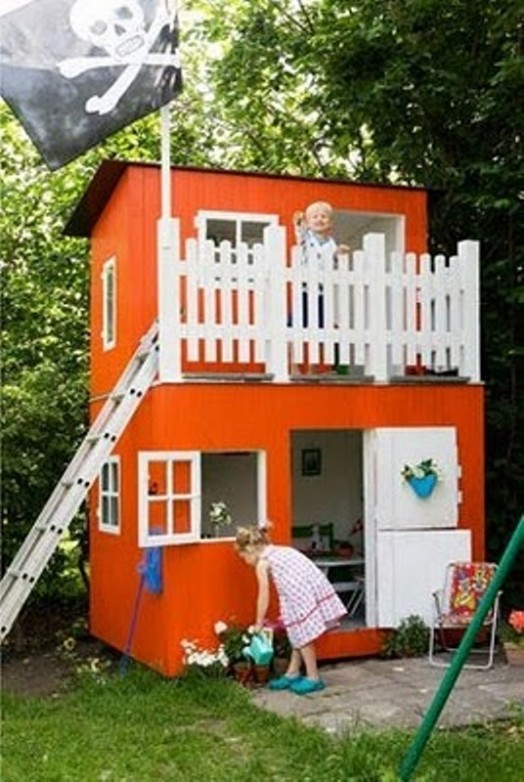 Perfect Backyard Playhouses : Great Childrens Wooden Playhouse Ideas  Owatrol Direct