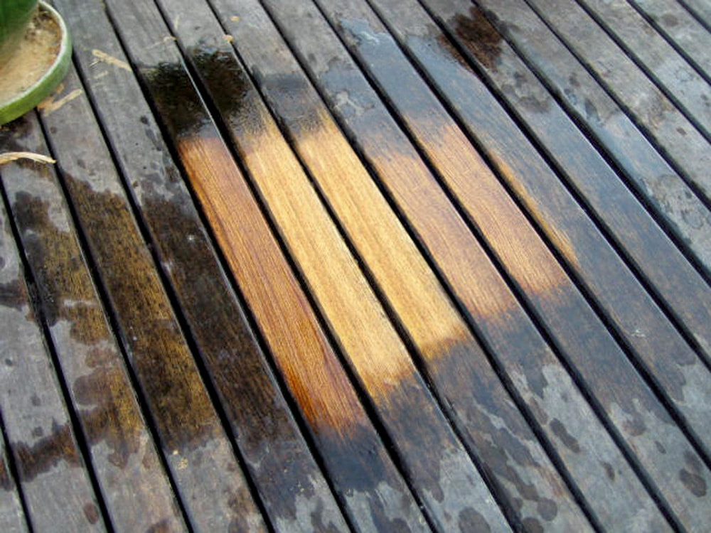Before and after using Net-Trol wood cleaner and brightener