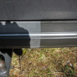 Before and after application of Polytrol on car bumper