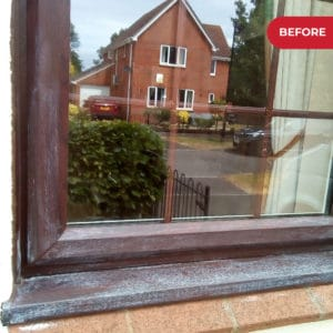 Before application on Polytrol on window frames