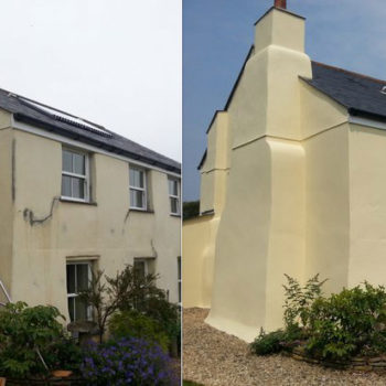 Farmhouse exterior renovation before and after using Owatrol's Emulsa Bond