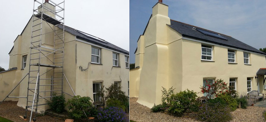 Framhouse exterior renovation before and after using Owatrol's Emulsa Bond