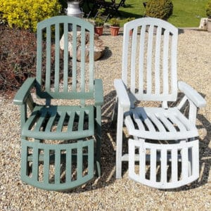 Before and after application of Polytrol on plastic garden chairs image credit to Boyd Mawer