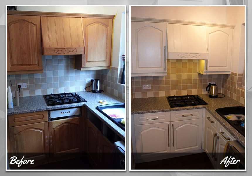 Before and after repainted kitchen cupboards