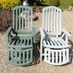 Before and after Polytrol on plastic garden chairs