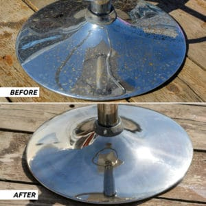 Before and after Polytrol on metal chair
