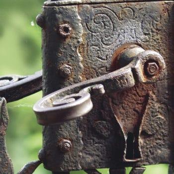 Rusted metal gate handle
