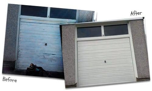Rusty Garage Door Before and After Owatrol Deco