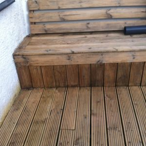 Garden deck after Prepdeck and Net-Trol have been used