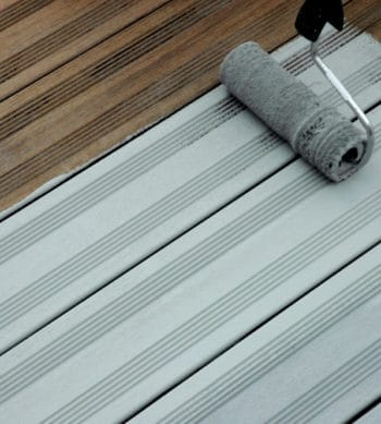 Decking Paint applied with a roller