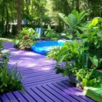 purple stained decking