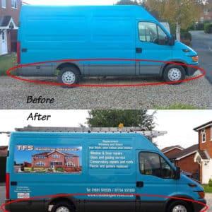 Polytrol colour restorer on a vans bumper