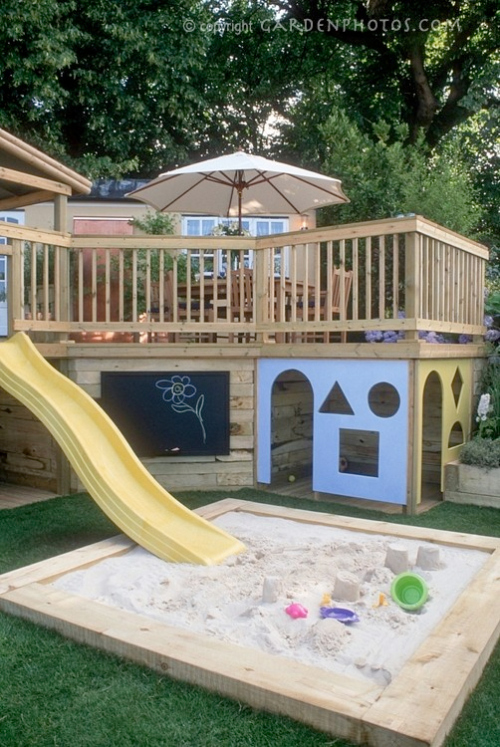 decking and children's play area