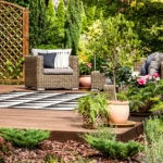 Garden deck with plants and furniture