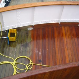 Prepdeck wood stripper used on a boat deck