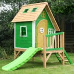 green playhouse with slide