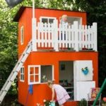Orange childrens playhouse