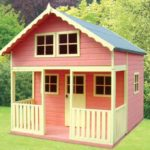 Two storey pink playhouse
