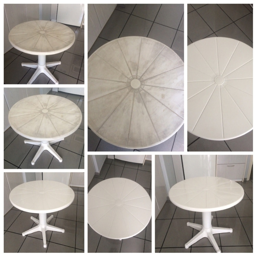 Before and after applying Owatrol Deco to a garden table