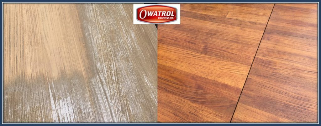 Teak tabel refurbished with Aquatrol