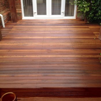Garden decking finished with Textrol by R&A Pressure Washing Services