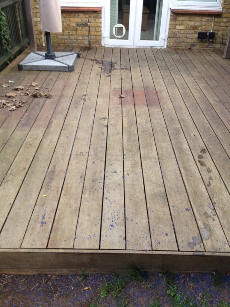 Garden decking before treatment with Owatrol solutions