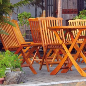 Teak Olje on garden furniture
