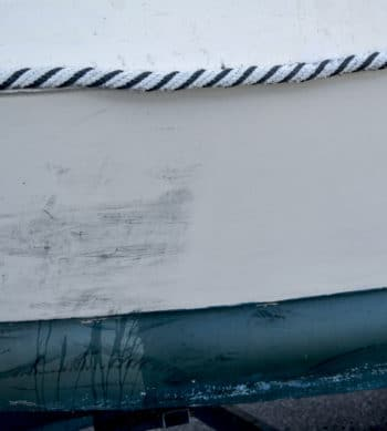 Before & after using Blackbat on a boat hull
