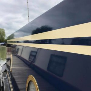 Gelcoat Restorer applied to a narrowboat