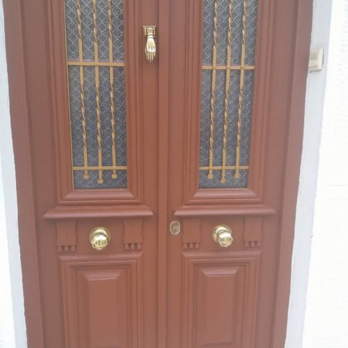 Damaged wooden front door finished with Owatrol SCS