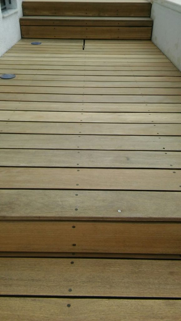 Poolside deck after mechanical sanding