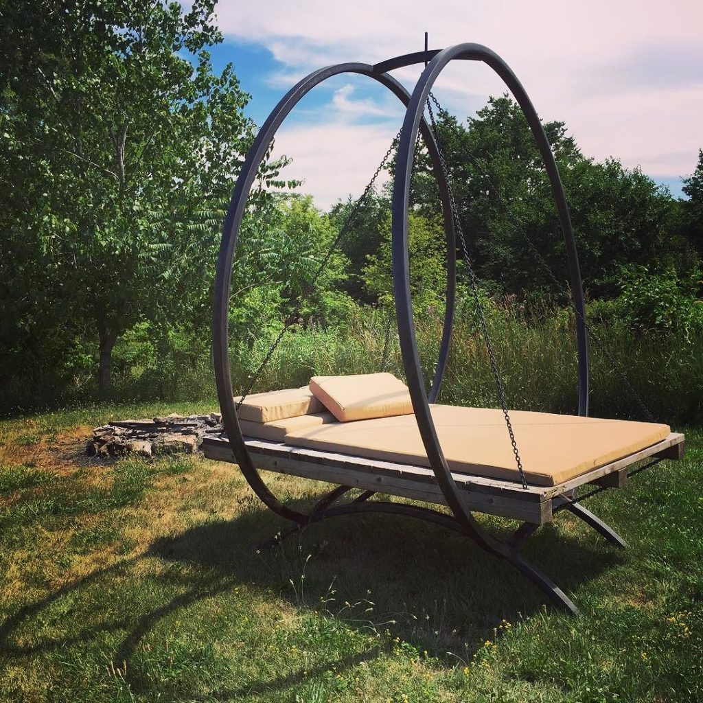 Garden swing chair made from pallets