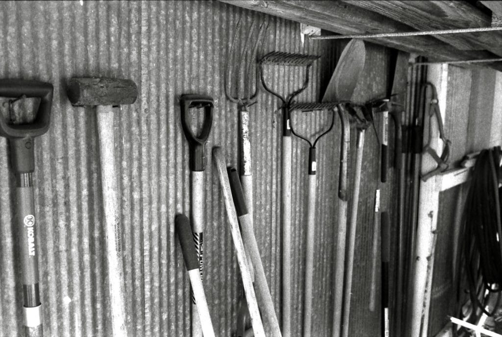 Gardening tools in a shed