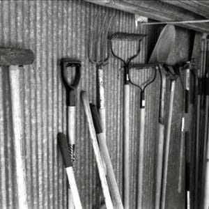 garden shed organisation - Organised gardening tools in a shed