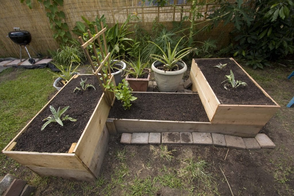 Stacked vegetable beds made from pallets
