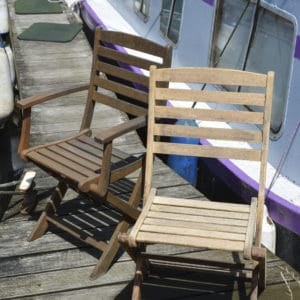 Deep Cleaner before & after on garden chairs
