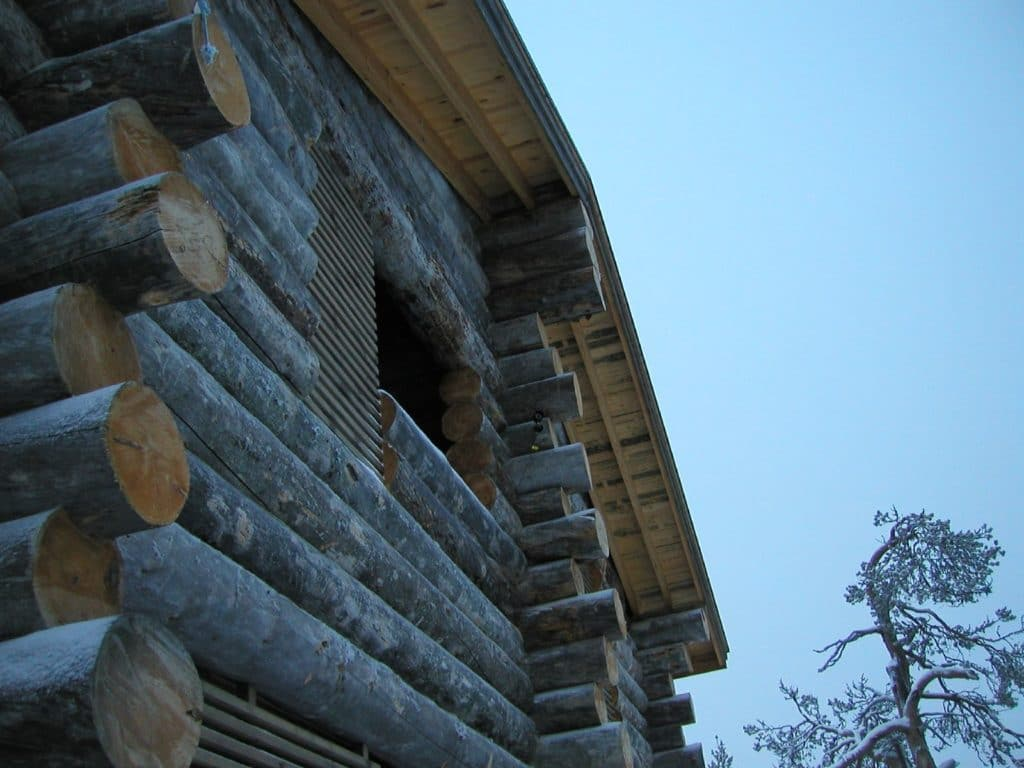 Log cabin close up