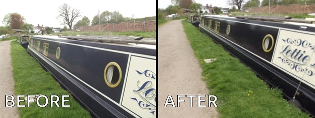 Polytrol before and after on a barge