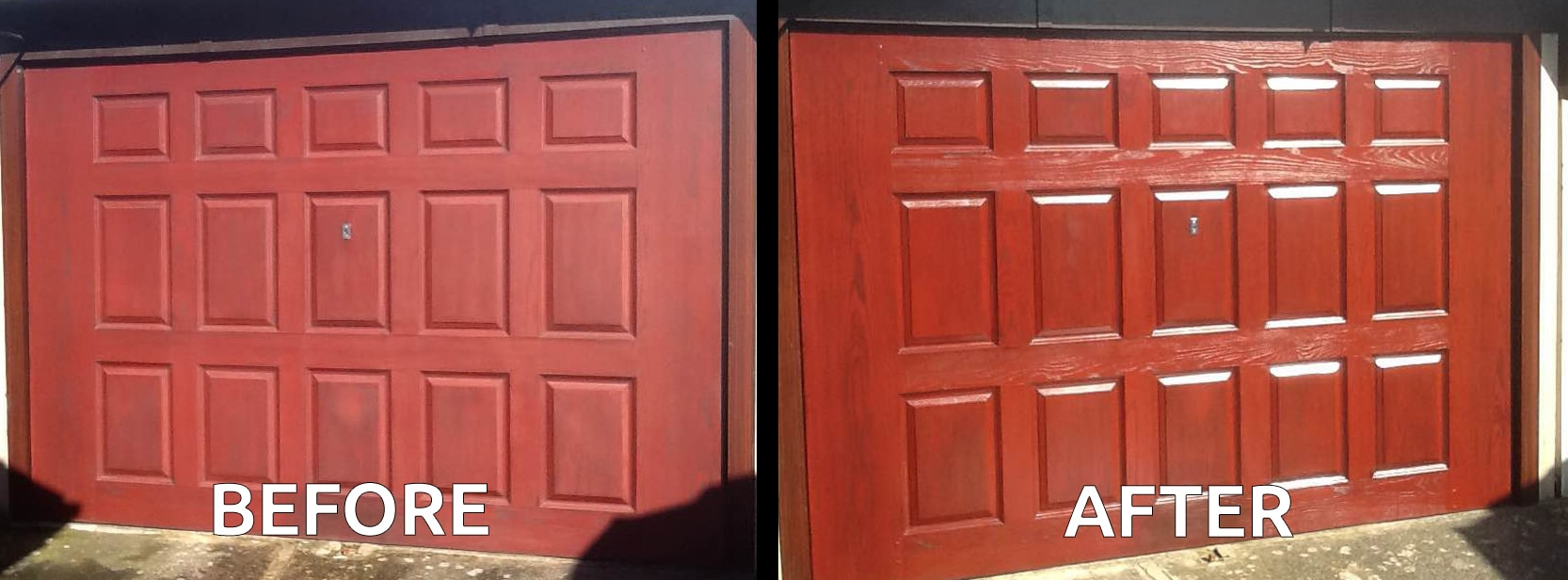 Polytrol on garage door before and after