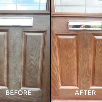 Before and after composite door treated with Polytrol