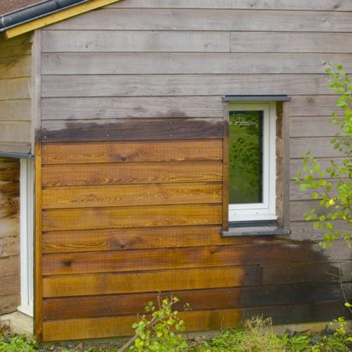 Net-Trol being used to restore weathered wood