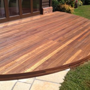 Balau decking after Textrol by R&A Pressure Washing Services Ltd