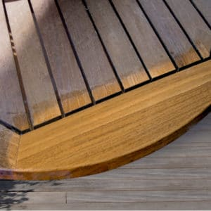 Aquanett applied to teak table