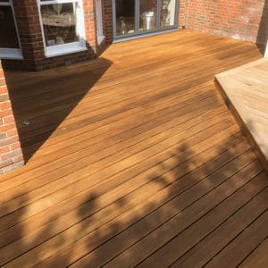 Balau garden deck restored with Aquadecks by R&A Pressure Washing Services Ltd