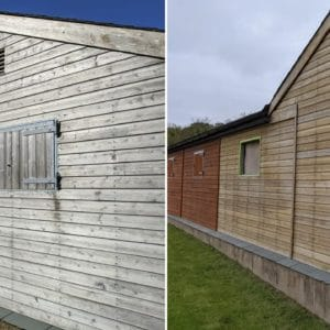 Before and after Net-Trol on horse stables - image credit to David Plowchalk