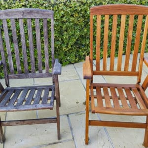 Before and after Net-Trol on garden chairs