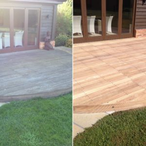 Balau decking before and after Net-Trol by R&A Pressure Washing Services Ltd.
