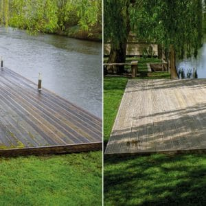 Before and after net-trol on lakeside deck