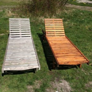 Before and after Textrol on sun lounger