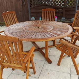 Garden table and chairs finished with Textrol